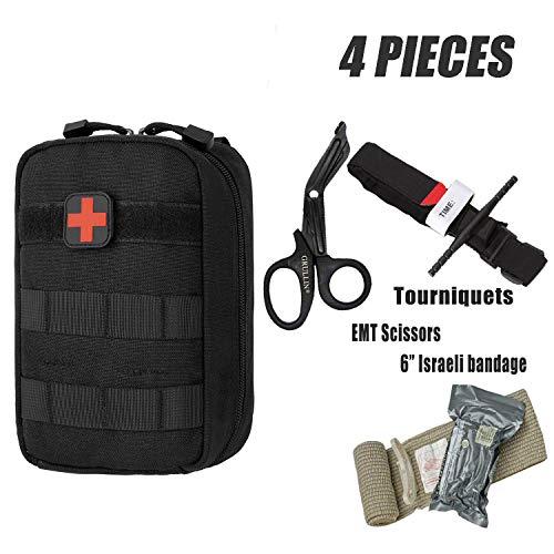 GRULLIN Erste-Hilfe-Ausrüstung, Tourniquet, Israelischer Verband, Medizinische EMT-Schere (1* Israeli Bandage+1* Tourniquet)