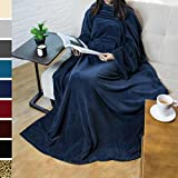 Premium Fleece Blanket With Sleeves By Pavilia | Warm