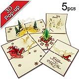T-Antrix 3D Pop-up Grußkarten Weihnachtskartenn (5er Set) Glückwunschkarten Ruherstandkarten Urlaubskarten Weihnachtsgeschenk Neujahr Karte Klappkarten mit Umschlägen 5 Stück