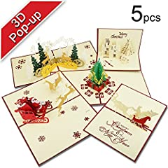 Idea Regalo - Biglietti di Natale, T antrix 3d pop up biglietti di auguri di Natale regalo per Natale/Capodanno di 5carte e buste