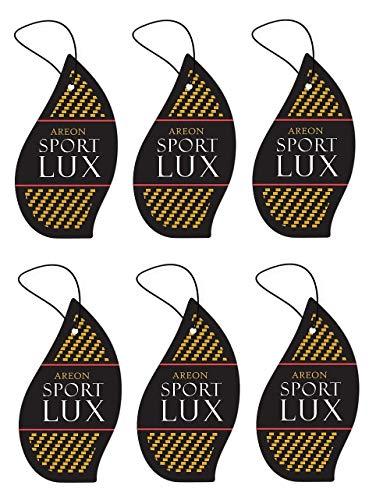 Areon Sport Lux Gold Deodorante per Auto Cartone Appeso Specchietto Retrovisore Gadget 2D Decorazione D'interni Forma di Goccia Nera Casa Ufficio Profumi Multi Pacco (Oro Confezione da 6)
