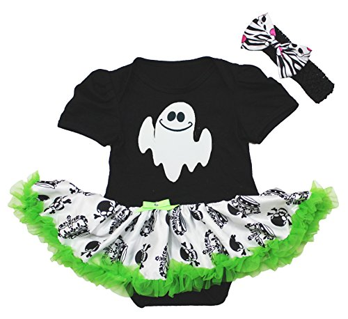(Petitebelle Halloween Dress Little Ghost Black Bodysuit Crown Skull Tutu Nb-18m (12-18 Monate))