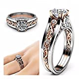 The sweetest weapon Lady Zircon Ring 14K Rose Gold Color Separation Ring White Zircon Ring, Neun