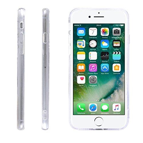 iPhone 8 Hülle, Fraelc iPhone 7 Weich Silikon Rahmen Handyhülle Transparent Schlank Schutzhülle Crystal Clear TPU Bumper Case für Apple iPhone 7 / iPhone 8 (4,7 Zoll) mit Römische Uhr Muster Design Ha Blau Rosa