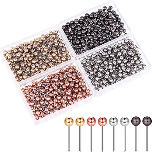 800 Stücke Karte Tacks Push Pins Runde Kunststoff Kopf mit Edelstahl Punkt, 0,16 Zoll Kopf (Silber/ Gold/ Rosagold/ Schwarzes Gold)