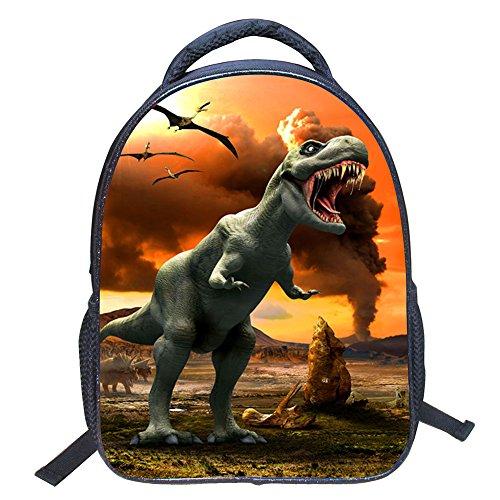 JIAN YA NA Chicos Bolsa 3D Animales Dinosaurio Fresco del Estampado de la Lona del morral del Hombro Bolsa de Libros de niños 14' Tipo 1