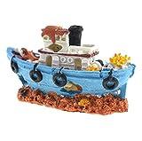 Aquarium-Piraten-Schiffs-Verzierung mit korallenrotem Satrfish-Kraken-Schiffbruch gebrochenes Schiff für Fisch-Behälter-Landschaftsdekoration happy- little -bear