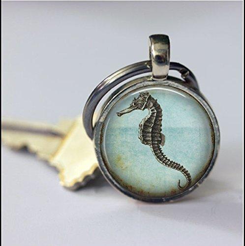 Schlüsselanhänger mit Schlüsselanhänger Seepferdchen, Tier-Vintage-Kunst-Anhänger Schlüsselanhänger Schlüsselanhänger, handgefertigt, Vintage-Schmuck, Modeschmuck für Frauen und Männer