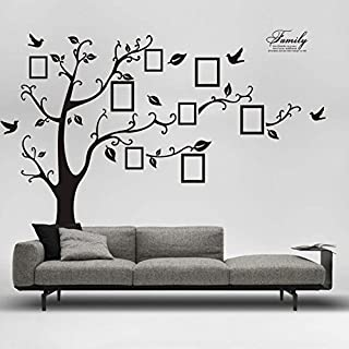 Quistal 3D Family Tree Wall Stickers With Photo Frames | Black Tree and Leaf Home Decal | Family Wall Decor Home Improvement Memory With Children | Nursery Room Wall Stickers (Black)
