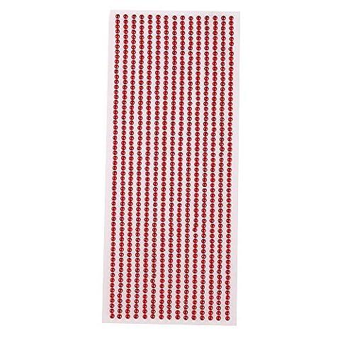 3mm adhésif perle gem bandes - idéal pour fabrication cartes and décorations - Perle Rouge
