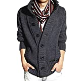 serliyHerren Knit Cardigan, Knit Pullover Round Neck Button Knit Sweater Strickpullover Feinstrick Pullover In Melange-Optik Mit Grandad-Kragen