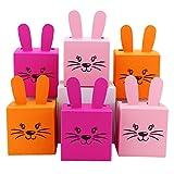 6 DIY Osterhasen Kisten zum selber Basteln und Befüllen - ein Geschenk von Herzen - zu Ostern - 2 rosa pinke orange Boxen – Schachteln für Mädchen