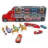 Nuheby Voiture Enfant Camion Transporteur Véhicule Petite Voiture avec 6 Mini Voiture Jeu Educatif Camion Enfant Cadeau Enfant pour 3 4 5 Ans Garcon Fille