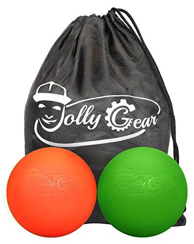 jollygear Lacrosse Massage Kugeln für selbst myofaszialer Release und Deep Tissue Trigger Point Therapie 1 Green + 1 Orange Einheitsgröße