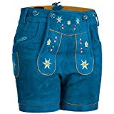 PAULGOS Damen Trachten Lederhose + Träger, Echtes Leder, Kurz in 8 Farben Gr. 34-50 M1, Farbe:Blau, Damen Größe:36