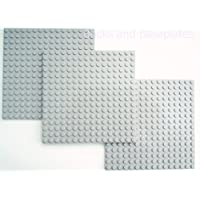 LEGO® 3 x LIGHT GREY PLATE (Base Boards Baseplate) 16x16 Pin/Stud (12.8cm x 12.8cm x 0.5cm) FREE UK POSTAGE - Taken from sets and Supplied by Bricks and Baseplates® Sent in a Sealed Clear Bag