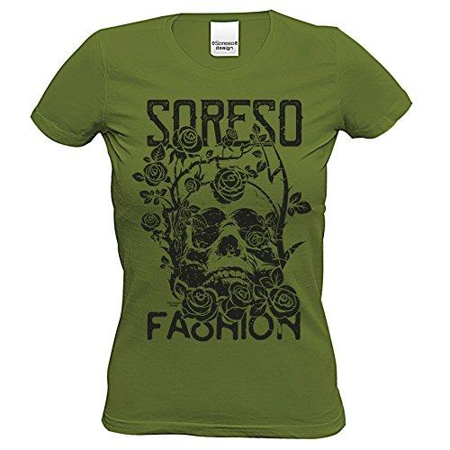 n T-Shirt :-: Halloweenshirt Bikershirt :-: Totenkopf Shirt mit Rose Farbe: khaki Gr: L (Biker Girl Kostüm Halloween)