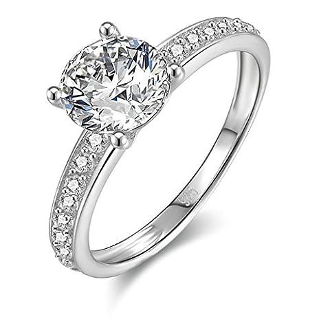 (Hochzeit Ringe)Adisaer Damen Ringe Silber 925 Verlobungsring Diamant Halo Runde Trauringe Zirkonia Größe 54 (17.2)