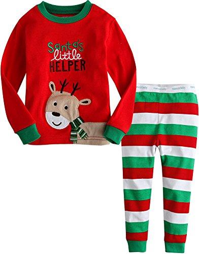 Kinder Rentier Pyjamas Sets Kinder Kleidung Set Jungen Weihnachten Baumwolle Kleinkind Pjs Nachtwäsche 5-6Y (Pjs Kleinkinder Für Weihnachten)