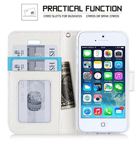 Coque iPhone SE, Coque iPhone 5S, Coque iPhone 5, Fyy® [Rose Or] Étui en cuir PU de première qualité avec Coverture Toute-Puissante pour Apple iPhone SE/5S/5 Bleu Foncé E-Motif 16