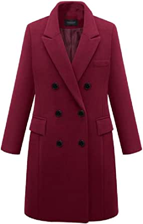 Desyaiw Womens Outdoor Double-Breasted Warm Plus Size Woolen Long Trench Coat