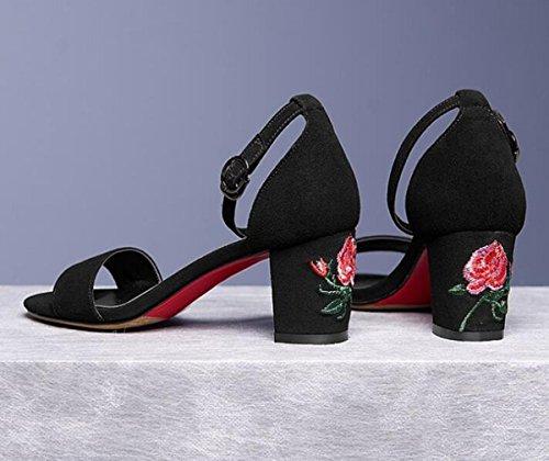 Beauqueen Broderie Chunky Mid Heel Wedding OL Casual Femmes Sandales Cheville Tresses Antidérapantes Outsoles Casual Fashion Walk Chaussures de sécurité EU Taille 34-39 Black