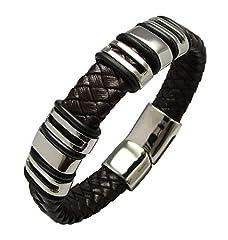 Idea Regalo - Bracciale in pelle intrecciato bracciale in acciaio inossidabile colore: marrone scuro 19,5cm con 6X Beads di Kikuchi