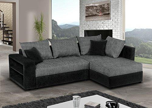 Sofa Couch Ecksofa Houston Schlaffunktion Schlafsofa schwarz/grau Eckcouch