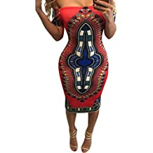Vestido De Mujer, Xinan Mujeres Africana Tradicional Dashiki Bodycon Vestido de Manga Corta (L, Rojo)