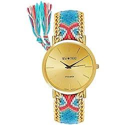 Reloj de pulsera para mujer, correa trenzada, estilo hippie, pulsera de la amistad, color azul, rosa y dorado