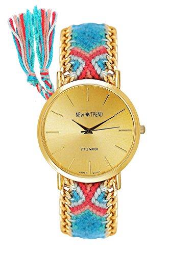 Beach Style Damenuhr Geflochten Armband Farbe Blau Pink Gold Armbanduhr Blogger Trenduhr Uhr Damen Hippie Boho Festival Boho Anker Weltkarte Feder Freundschaftsarmband Dalas Mingbo Bijou V6