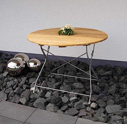 Klapptisch, Gartentisch, Gartenklapptisch, Terrassentisch, Balkontisch, rund, klappbar, Robinienholz, Stahlgestell, verzinkt