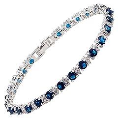 Idea Regalo - Rizilia gioielli taglio rotondo Blue Sapphire Color Birthstone pietra preziosa Fine 18K oro bianco placcato [180mm/7inch] Braccialetto Tennis Elegance Moderno [sacchetto di gioielli liberi]