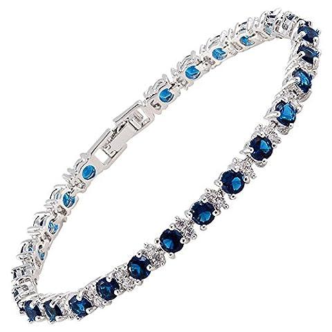 RIZILIA Forme Rond Saphir Bleu Pierre De Naissance [CZ] 18K Plaqué Or [18cm/7inch] Bracelet Tennis Simple Élégant Moderne [Bijoux Gratuit Poche]