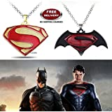 (2 Pcs COMBO SET) - SUPERMAN ( GOLD PLATED ) & DAWN OF JUSTICE LOGO (BLACK/MAROON) IMPORTED PENDANTS WITH CHAIN. LADY HAWK DESIGNER SERIES 2018. ❤ ALSO CHECK FOR LATEST ARRIVALS - NOW ON SALE IN AMAZON - RINGS - KEYCHAINS - NECKLACE - BRACELET