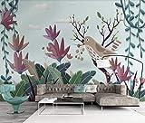 Wemall Flower Birds Sfondi Murali per Soggiorno Pittura di lusso Contatto Carta Carta da parati strutturata Papel De Parede 3d Para Sala, 250x175 cm (98,4 per 68,9 in)