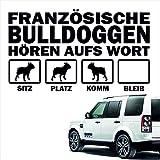 Auto Aufkleber FRANZÖSISCHE BULLDOGGE Hören aufs Wort 4 Farben 30cm (schwarz)