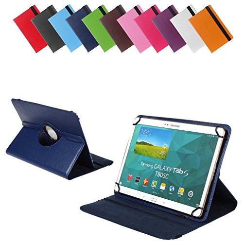 Universal Rotation-Tasche für verschiedene Tablet Modelle (9 / 10 / 10.1 Zoll, Blau) Größe Schutz Case Hülle Cover, 360° drehbar, vertikal und horizontal aufstellbar, mit Gummibandverschluss
