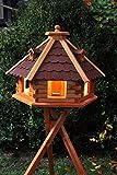 Vogelhaus von klein bis Riesig XXL Futterhaus Futterhäuschen Vogelvilla V18, Vogelfutterhaus aus Holz mit Solarbeleuchtung beleuchtet (Rot, XXL mit Ständer), Vogelfutterhaus mit Futtersilo, Silo
