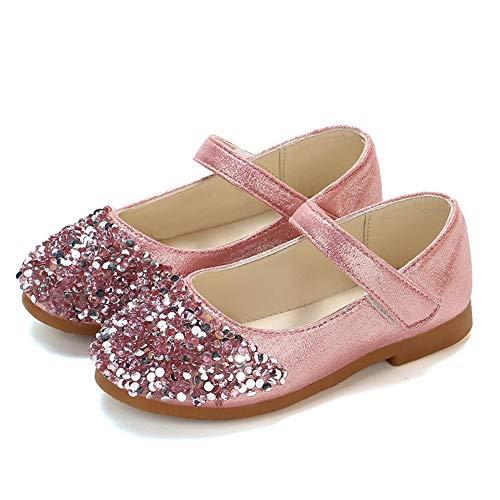 TFMus Kleinkind Mädchen Sparkle Glitter Party Kleid Schuhe Low Heel Mary Janes Schuhe Infant Princess Schuhe Hochzeit Schuhe Tanz Ballsaal Latin Schuhe (26,Pink) - Null Glitter