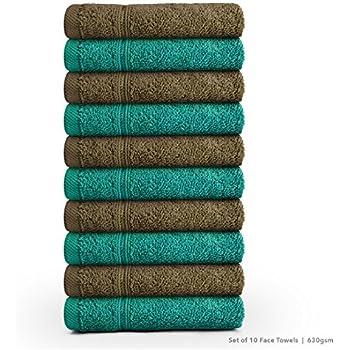 Swiss Republic Signature 10 Piece 630 GSM Cotton Face Towel - Dark Brown and Green