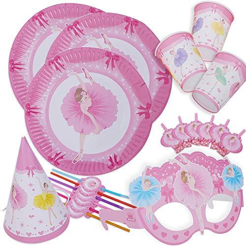 kingmate Party Set Ballett - Party Set für Geburtstag Kindergeburtstag Mottoparty, Tischdeko Partygeschirr Set für 6 Personen