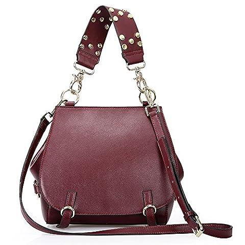 Sheli Fashion Cowhide Natural Convertible Pleat Versatile Bag Day-to-Night épaule avec chaîne réglable