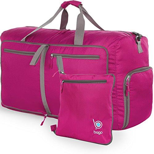 Reisetasche - diese faltbare, 85l große Reisetasche ist beständig, packbar, SUPERLEICHTE 410g mit abnehmbarem Schulterriemen - lässt sich in sich falten - am besten als Gepäck oder Sporttasche - VERMEIDEN SIE GEBÜHREN FÜR ÜBERGEPÄCK - 100% ZUFRIEDENHEITSGARANTIE (Rosa) (Nike Neuheit)