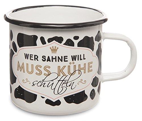 DeCoArt... Happy Life Emailletasse Wer Sahne will muss Kühe schütteln ca. 7 x 8 cm mit Henkel