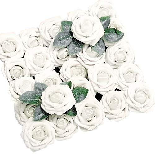 FOUNDME Künstliche Blumen Korallenrote Rosen 50 stücke Romantisches Geschenk Reine Farbe Gefälschte Rosen Für DIY Hochzeit Bouquets Mittelstücke Party Decor