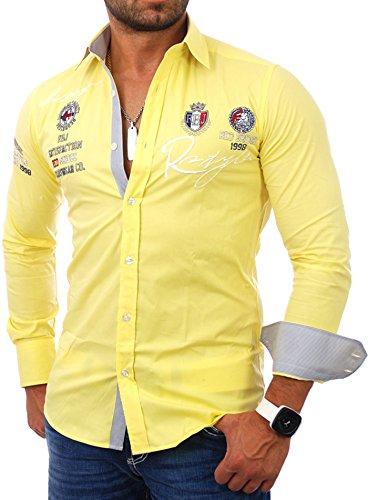 Chemise manches longues unie homme Coupe slim Redbridge Jaune