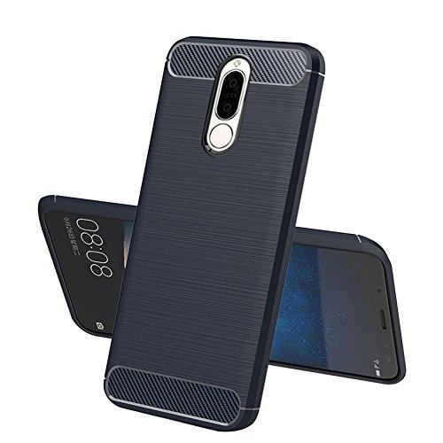 TopACE Hülle für Huawei Mate 10 Lite, Flexiblem TPU Silikon Hybrid Schutzhülle Kohlenstoff-Fasern Tasche Slim-Fit Case für Huawei Mate 10 Lite (Blau)