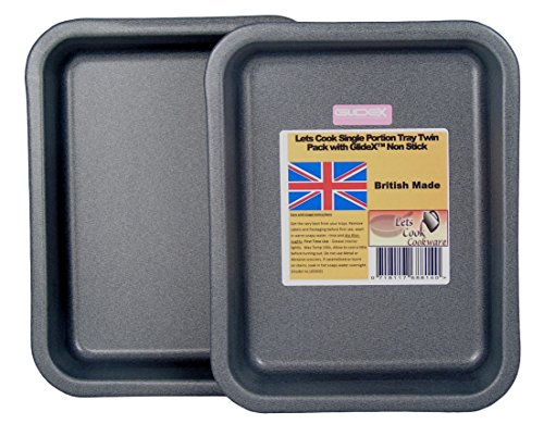 Single Portion Tray / Small Roasting Pan, Twin Pack, British Made with GlideX Non Stick by Lets Cook Cookware