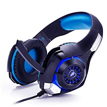 FOR ME Beexcellent Cuffie Gaming Over Ear Cuffie da Gioco Ave Microfono 3.5mm Jack Bass Gamer Headphone Stereo Audio Surround Cuffia Gaming Headset per PS4 Xbox One PC Laptop Tablet (Blue)